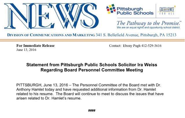 Board Still Mulling Pittsburgh Superintendent\u0027s Resume, Job 905 WESA