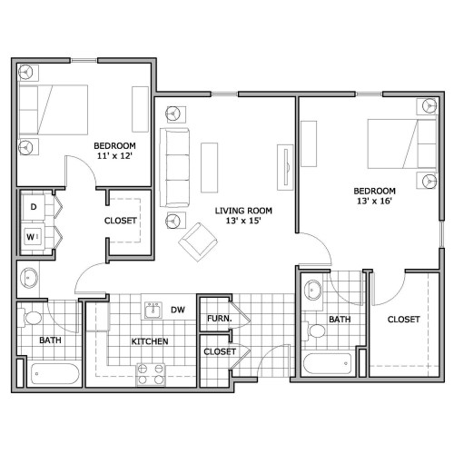 Medium Crop Of 2 Bedroom Floor Plans