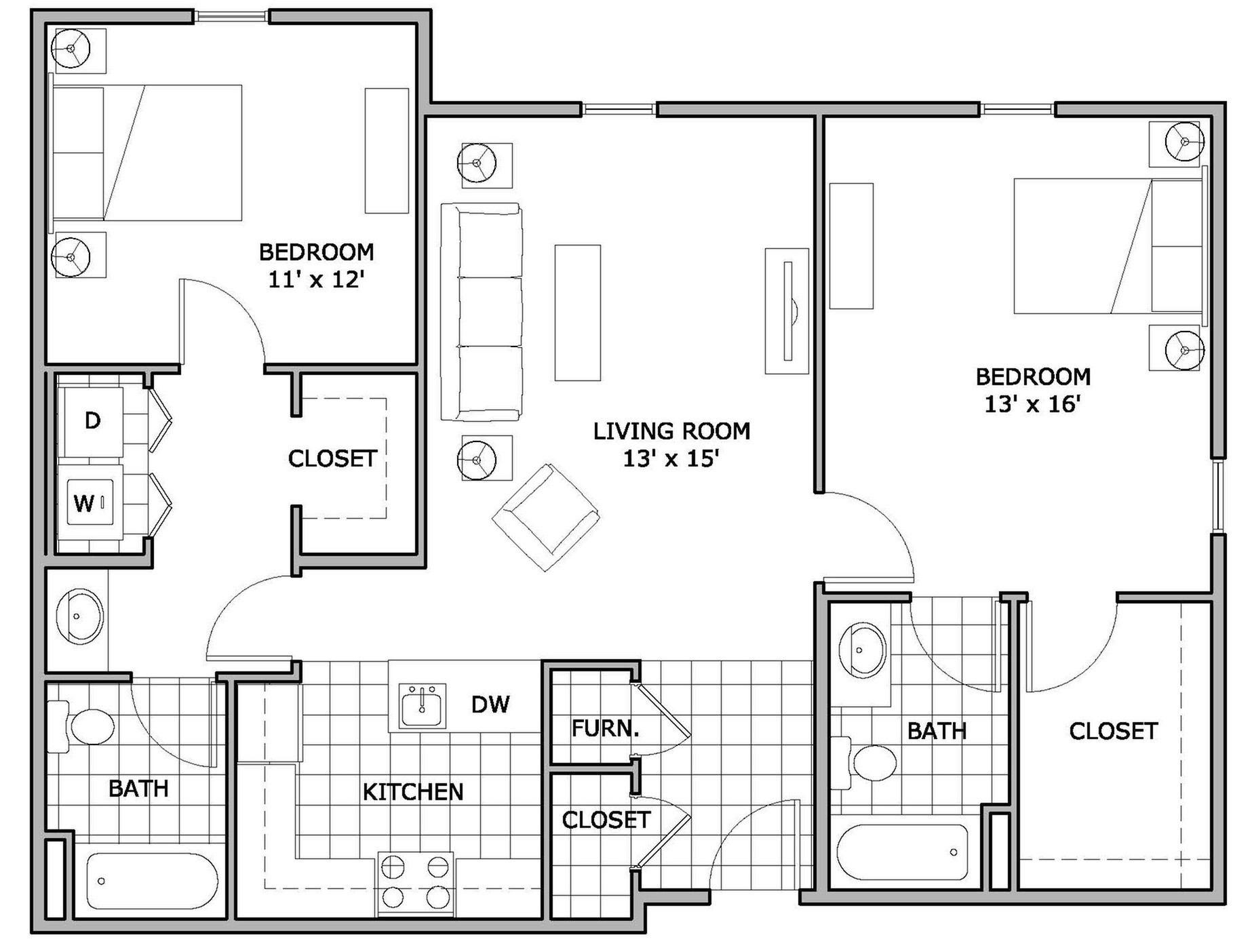 Two Bed Two Bath House Plans 2 Bed 2 Bath Apartment In Springfield Mo The Abbey Apartments