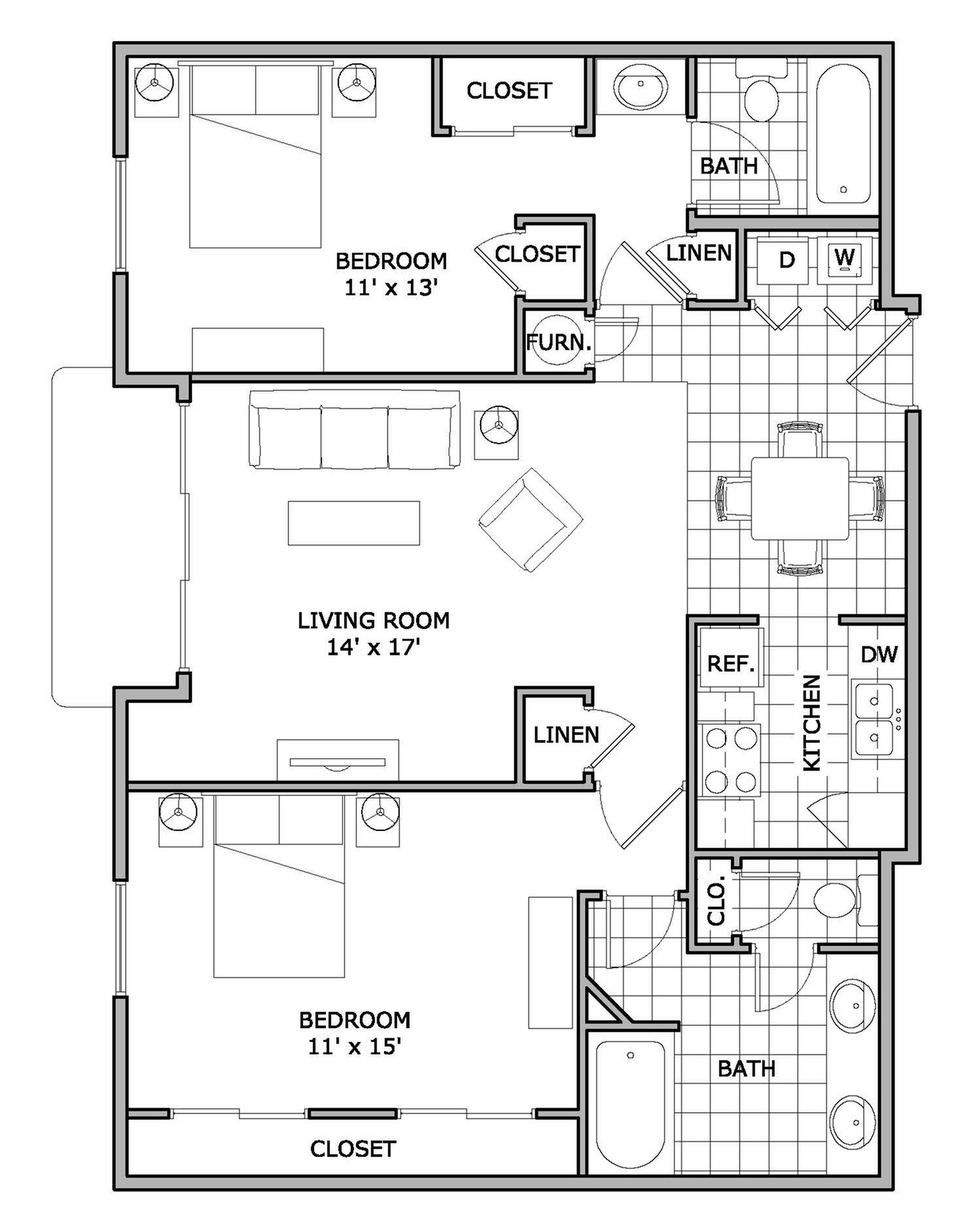 2 Bedroom Apartment Blueprints 2 Bed 2 Bath Apartment In Springfield Mo The Abbey