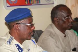 L-R Gen. Abdirizaak - Puntland Polic commissioner, Nuur Shire Osman - PUNSAA Chairman