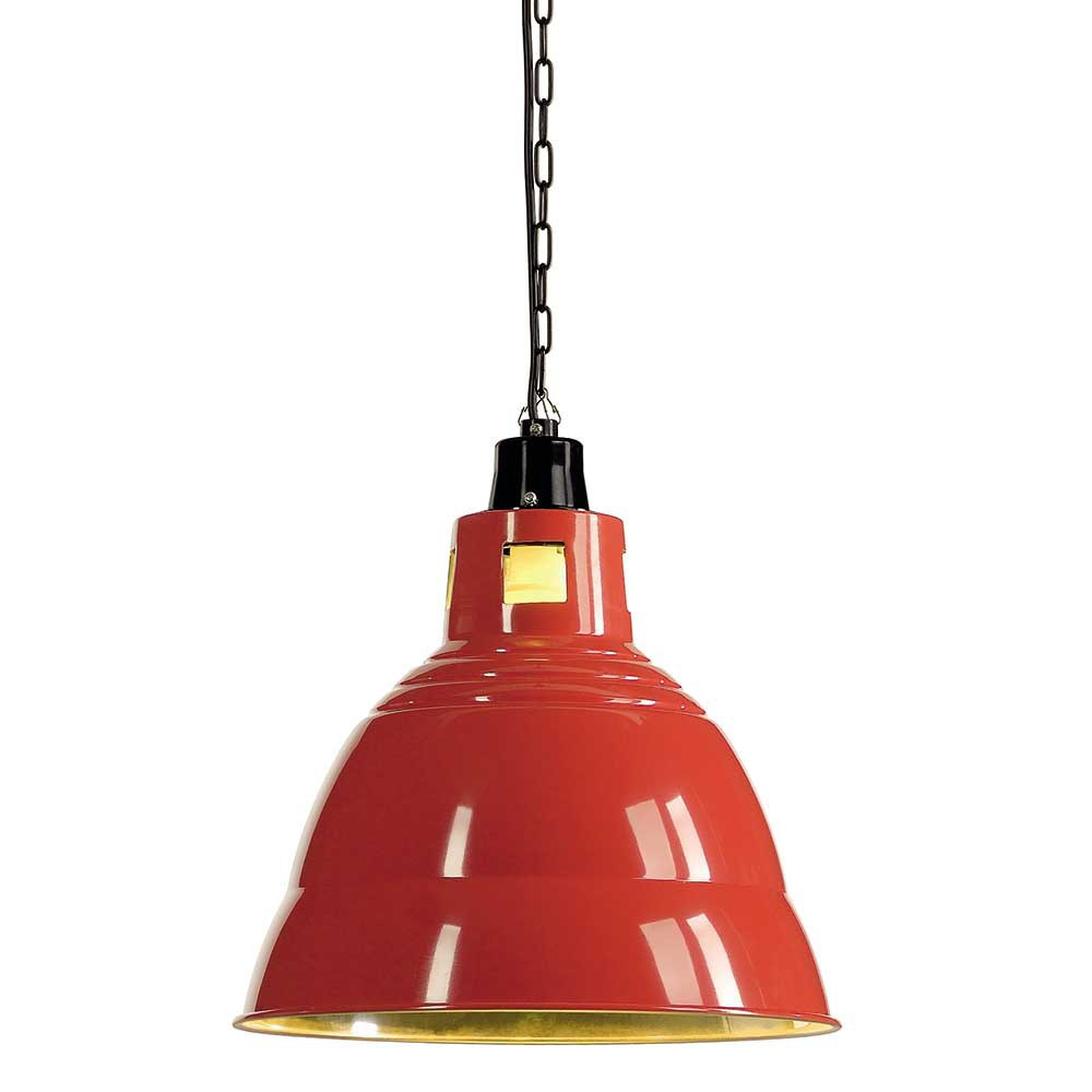 Lampe Halogene Led Exterieur Suspension Industrielle Rouge En Alu - Lampe Avenue