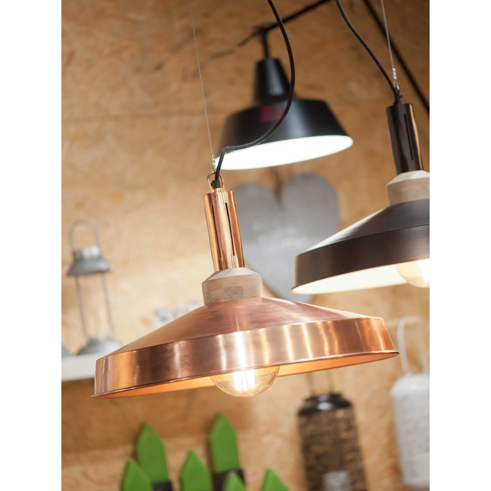 Lampe Suspension Style Industriel Grande Suspension Cuivre Et Bois Style Industriel