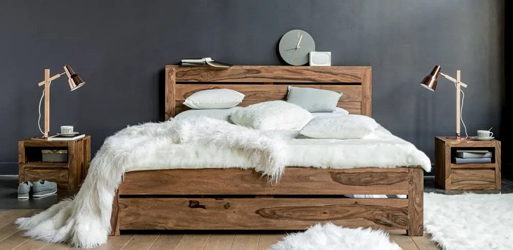 Solid Sheesham Wood 140 X 190 Double Bed Stockholm Maisons Du Monde