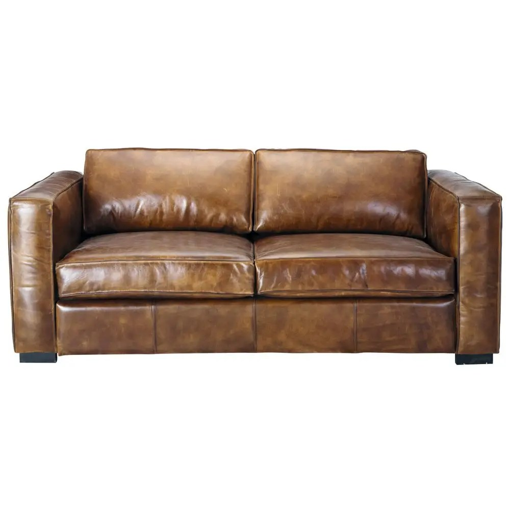 Sofa Berlin 3 Seater Distressed Leather Sofa Bed In Brown