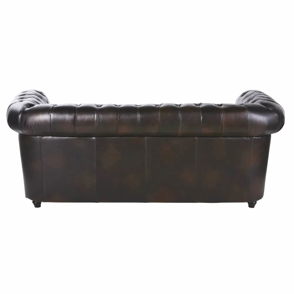 Chesterfield Sessel Schweiz 3 Seater Leather Button Sofa In Mocha Brown