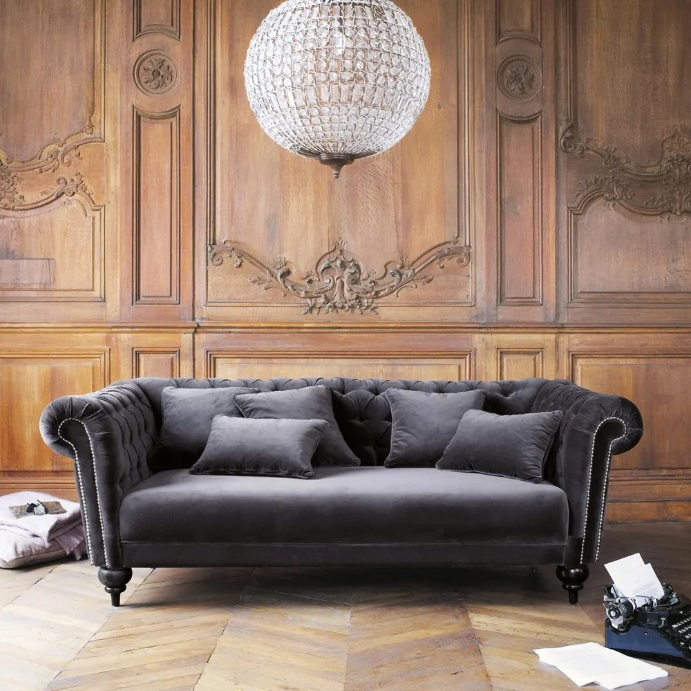 Maisons Du Monde Devoluciones 3 Seater Velvet Sofa In Grey