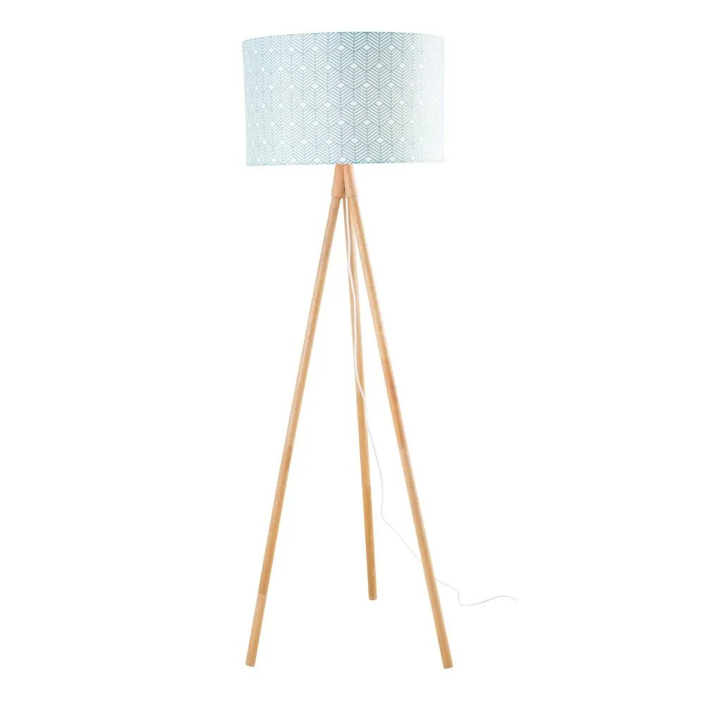 Maisons Du Monde Lamparas Ash Floor Lamp With Patterned Green Shade H 155 Cm