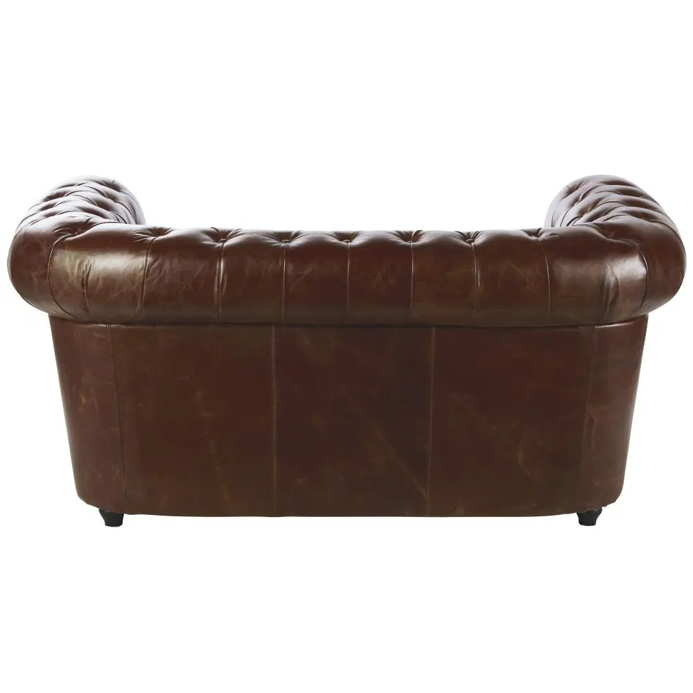 Canapé Chesterfield 2 Places Canapé Capitonné 2 Places En Cuir Marron