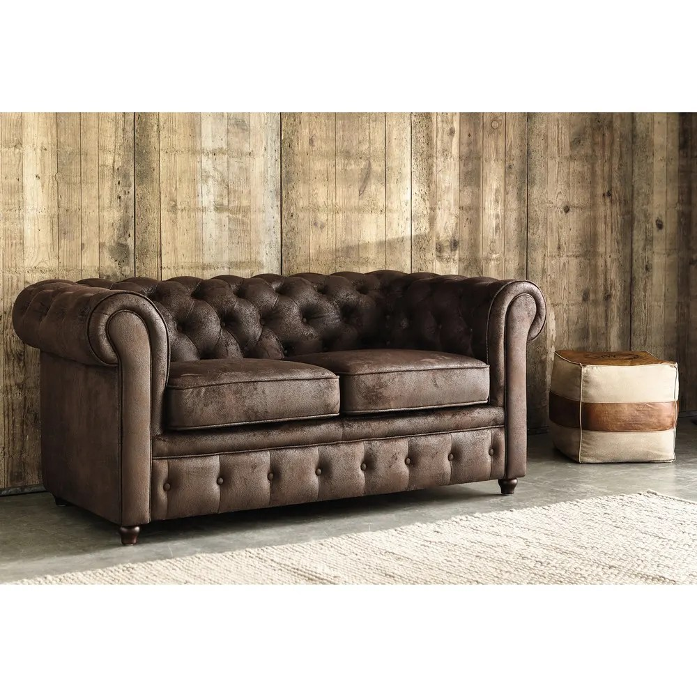 Canapé Chesterfield 2 Places Canapé Capitonné 2 Places En Suédine Marron