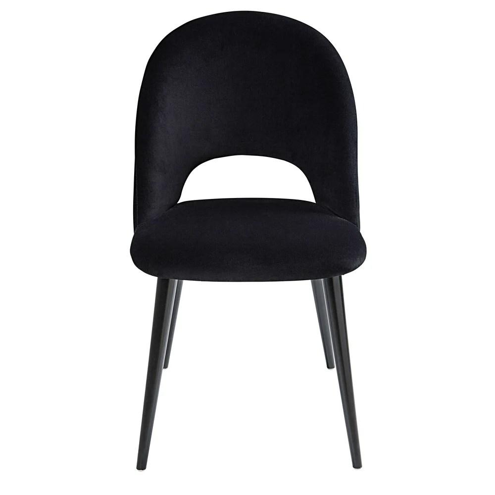 Chaise En Velours Noir Et Bouleau
