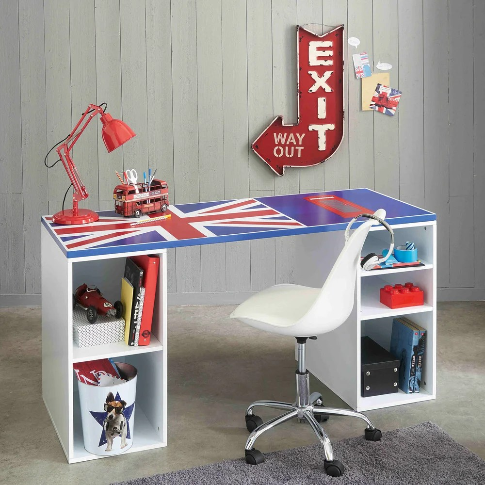 Bureau Drapeau Anglais Metal Wall Sign In Red H 81cm