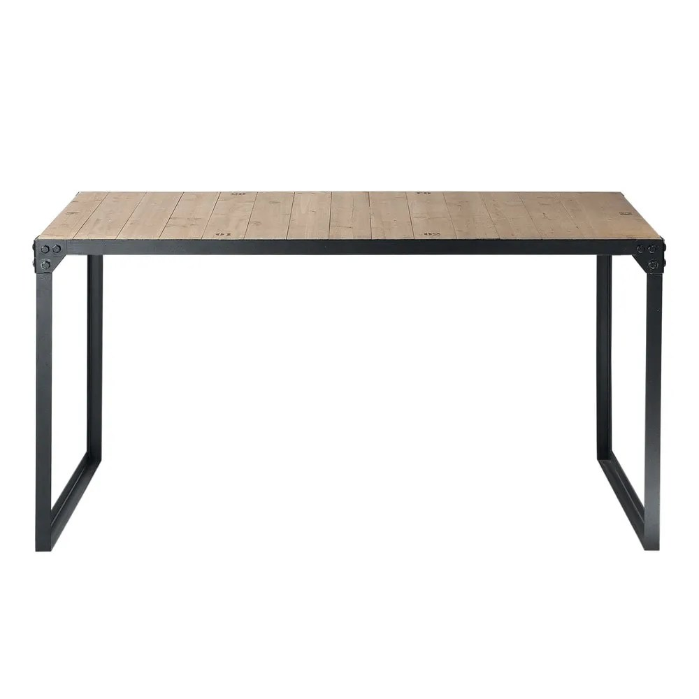 Table 140 Fir And Metal 6 8 Seater Industrial Dining Table L 140