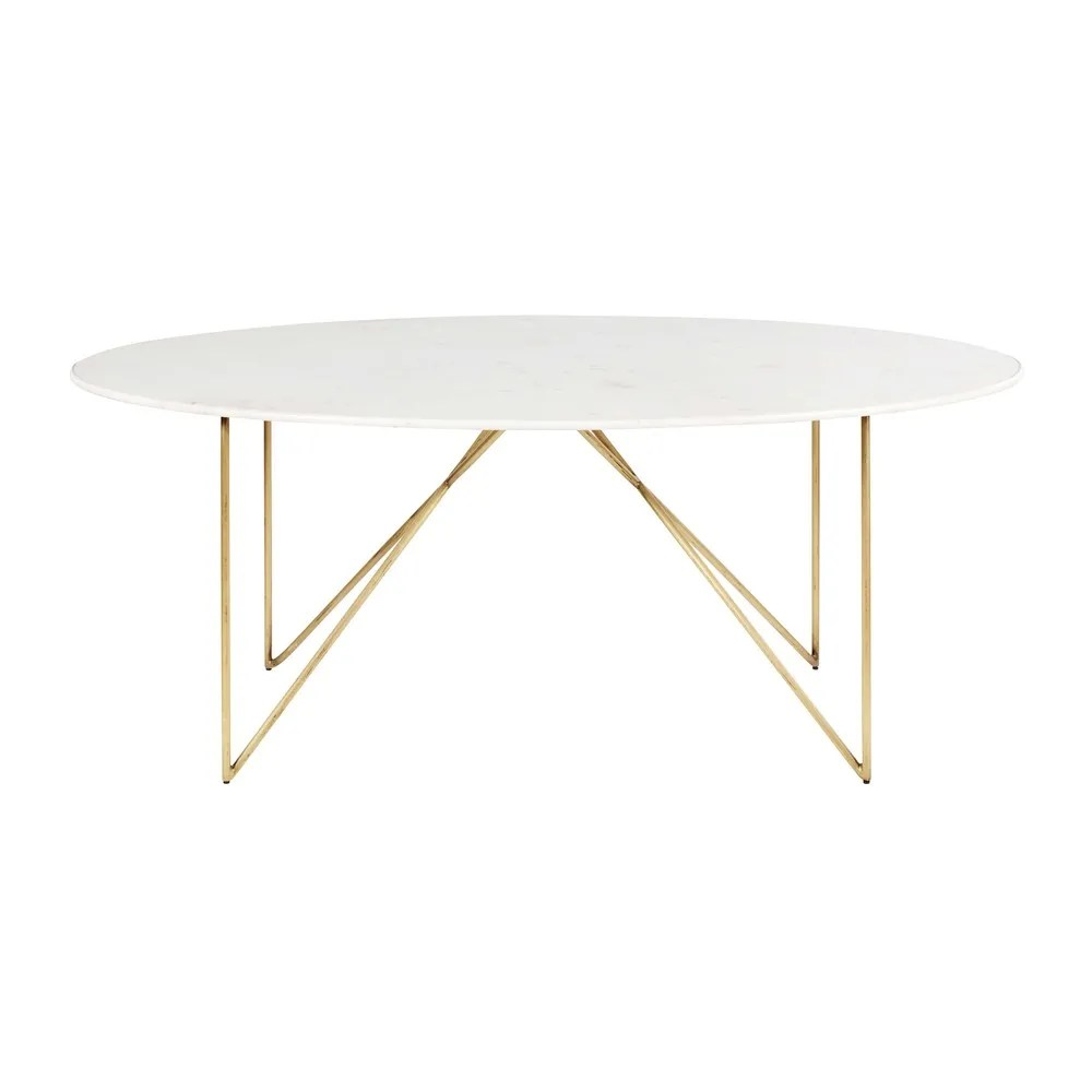 Table 200 Gold Iron And White Marble 4 6 Seater Dining Table W 200 Cm
