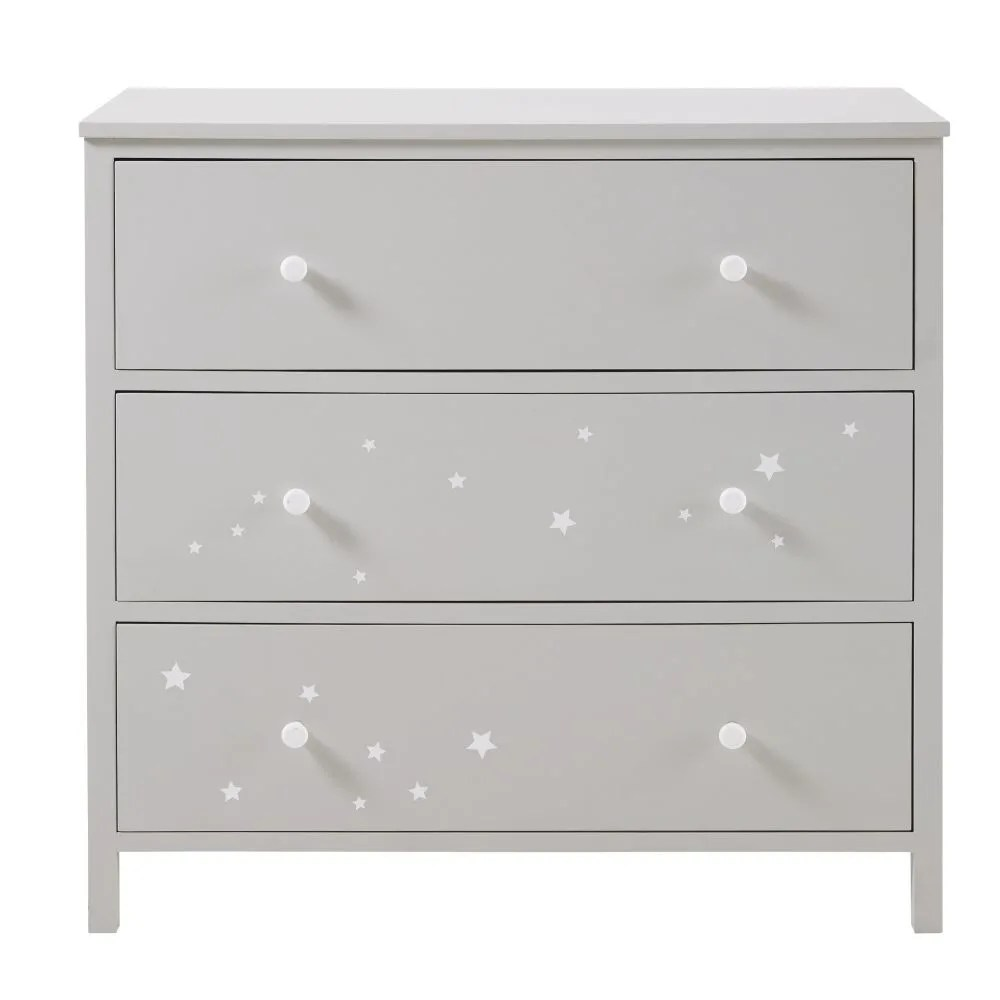 Cassettiere Vintage Maison Du Monde Grey Chest Of 3 Drawers With White Star Print