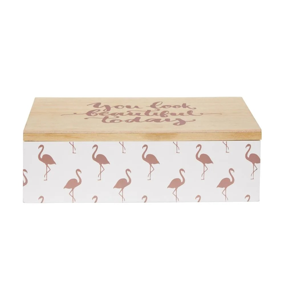 Cassettiere Vintage Maison Du Monde Jewellery Box With Pink Flamingo Print