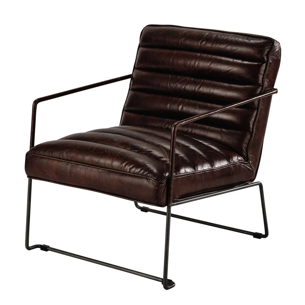 Maison Du Monde Mesa Centro Leather Armchair In Brown
