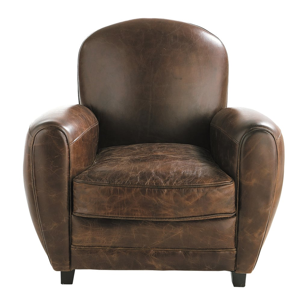 Maisons Du Monde Devoluciones Leather Club Armchair In Brown