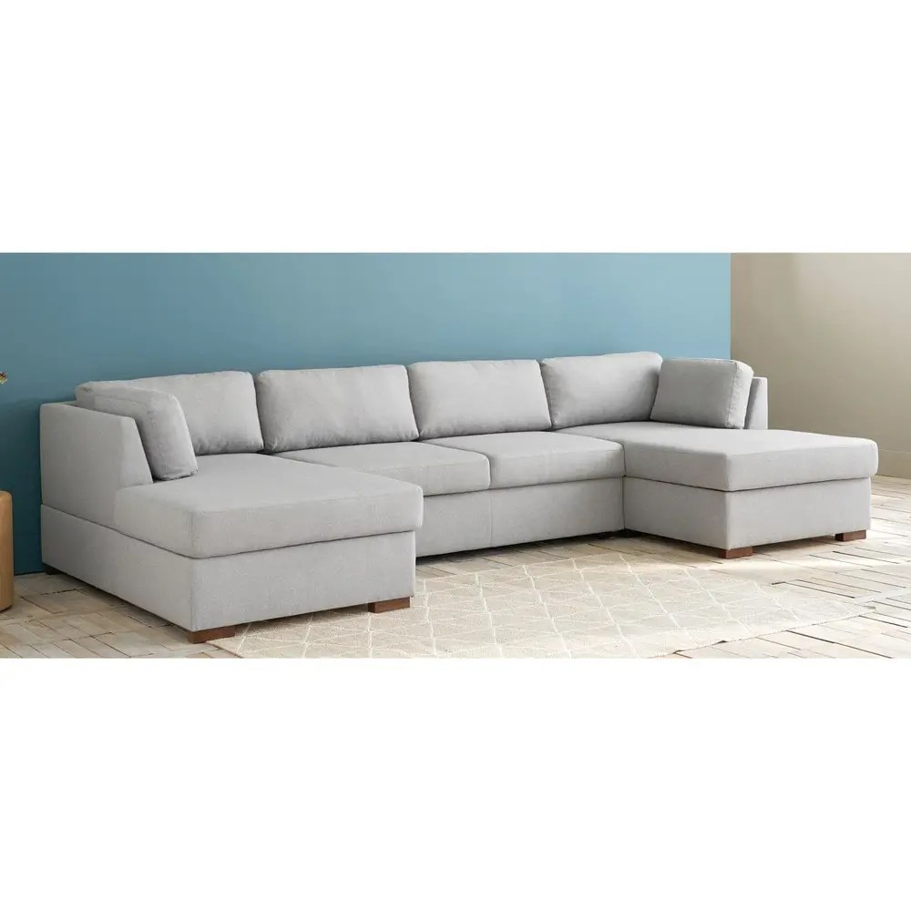 U Sofa Light Grey 7 Seater U Shaped Sofa Bed