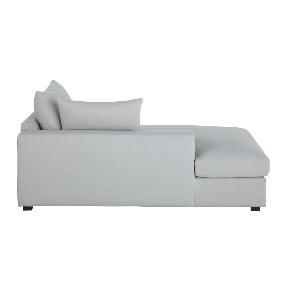 Chaise Longue Light Grey Cotton Left Hand Chaise Longue