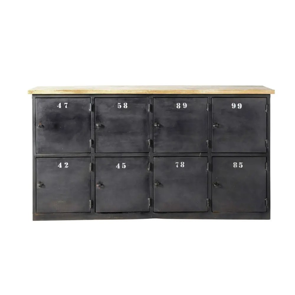 Cassettiere Vintage Maison Du Monde Metal And Mango Wood Industrial Counter Chest In Charcoal Grey