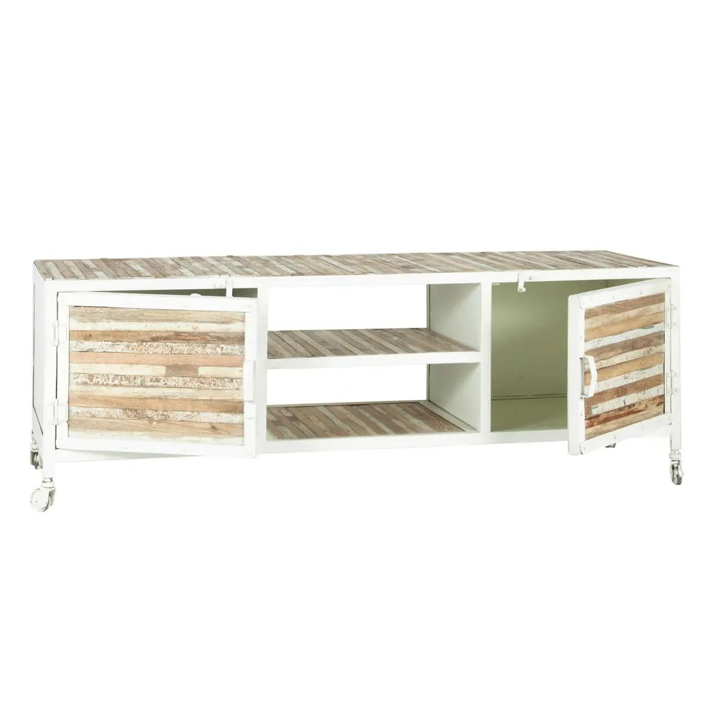 Sideboard Metall Schweiz Metal And Wood Tv Unit In White W 140cm