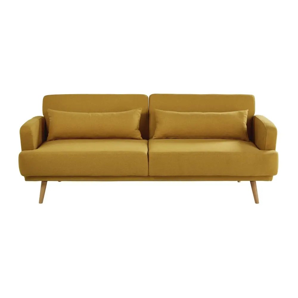 Ronde Sofa Mustard Yellow 3 Seater Sofa Bed