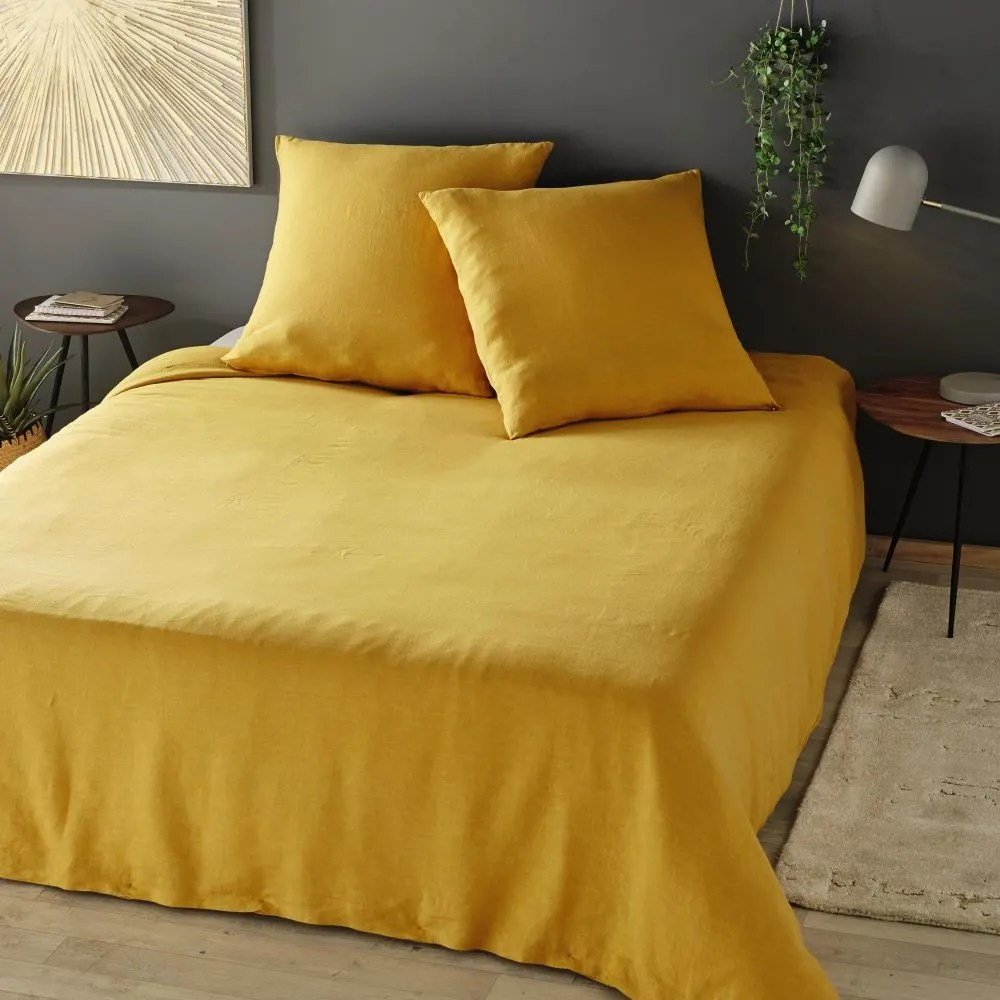 Bettwäsche Dog Side Mustard Yellow Washed Linen Bedding Set 220x240