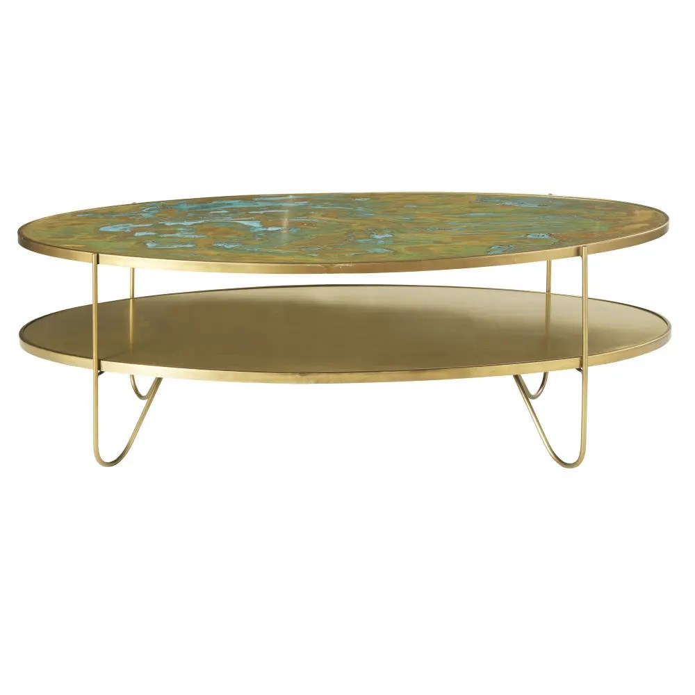 Couchtisch Spirit Oval Brass Coffee Table With Two Surfaces