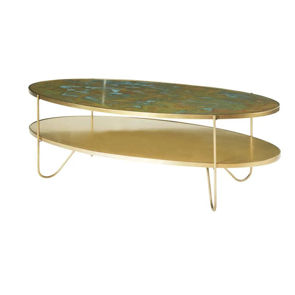 Couchtisch Industrial Oval Oval Brass Coffee Table With Two Surfaces