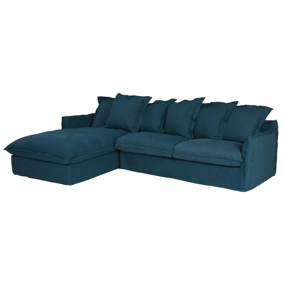Couch Petrol Petrol Blue 7 Seater Washed Linen Left Hand Corner Sofa
