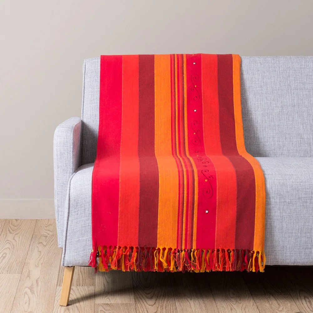 Maison Du Monde Plaid Plaid En Coton Rouge Et Orange 160 X 210