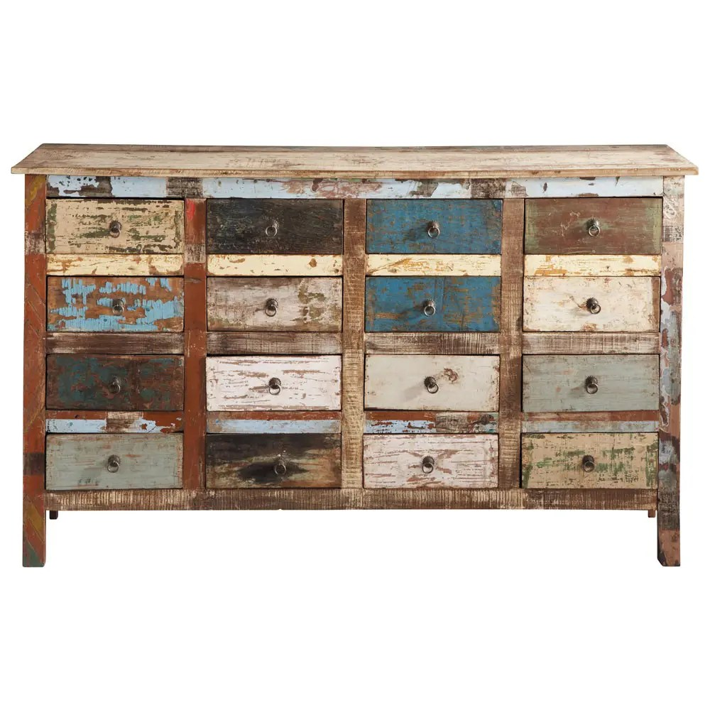 Cassettiere Vintage Maison Du Monde Recycled Wood Counter Chest Multicoloured
