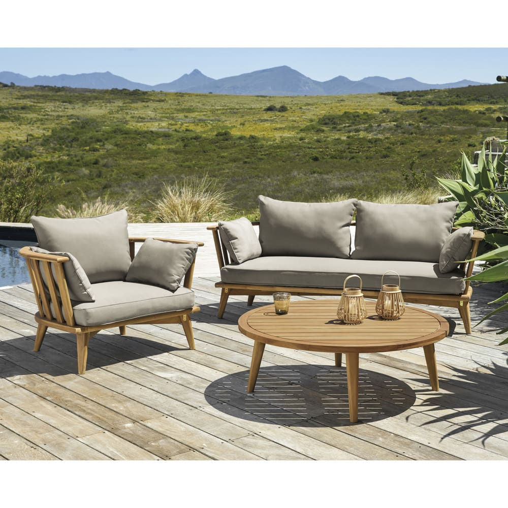 Ronde Sofa Round Garden Coffee Table In Solid Acacia