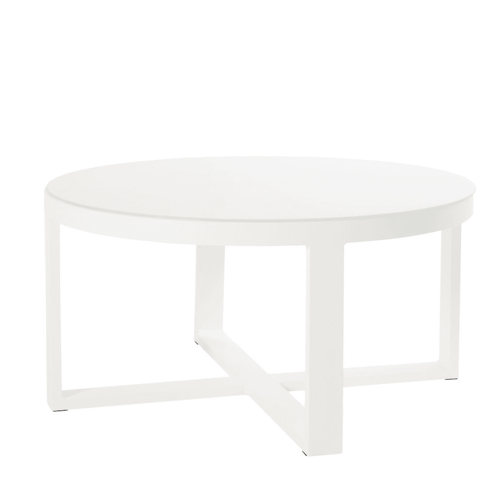 Table Metal Blanc Round White Metal And Glass Garden Coffee Table