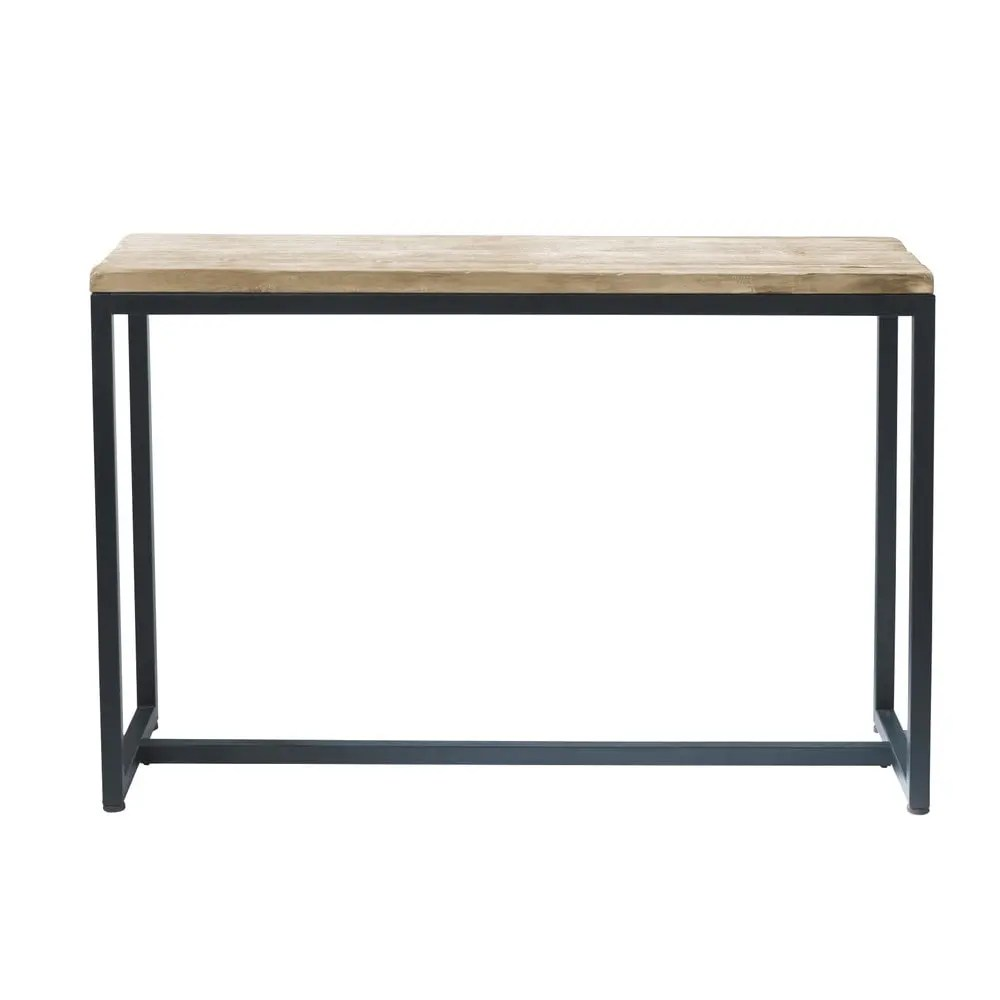 Table Cuisine Maison Du Monde Solid Fir And Metal Console Table In Whitewash Finish