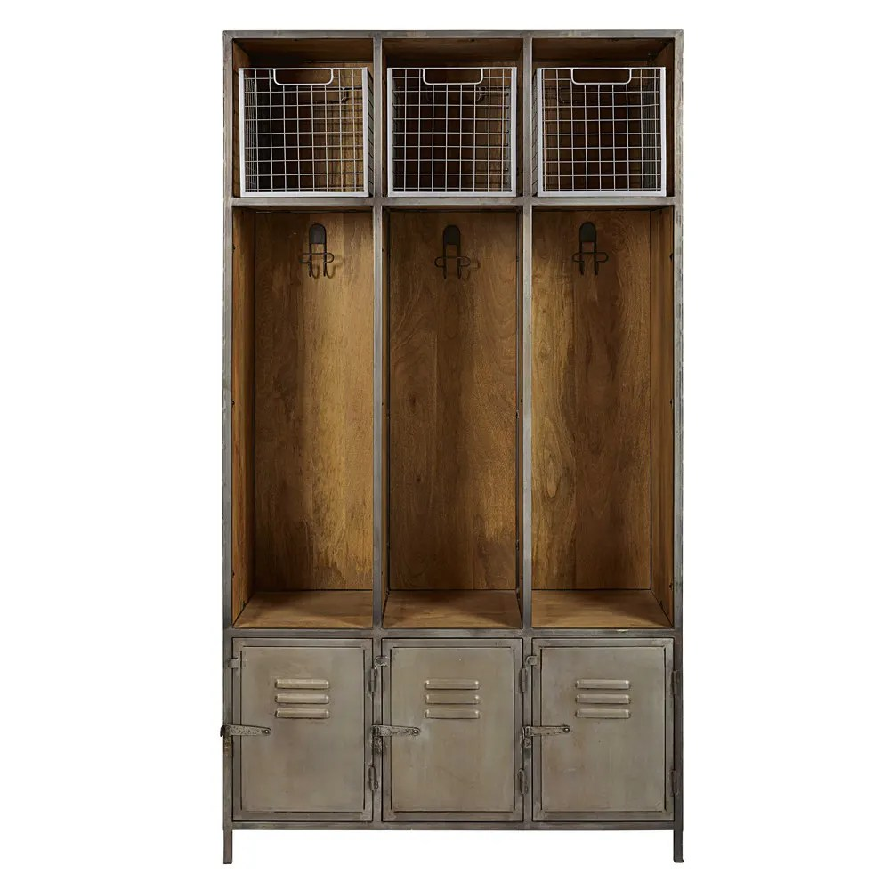 Dielenschrank Modern Solid Mango Wood And Grey Metal 3 Door Entryway Unit