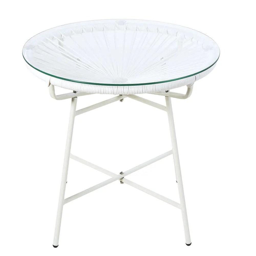 Table Basse Jardin Blanche   But Bois Ronde Metal Relevable Verre ...