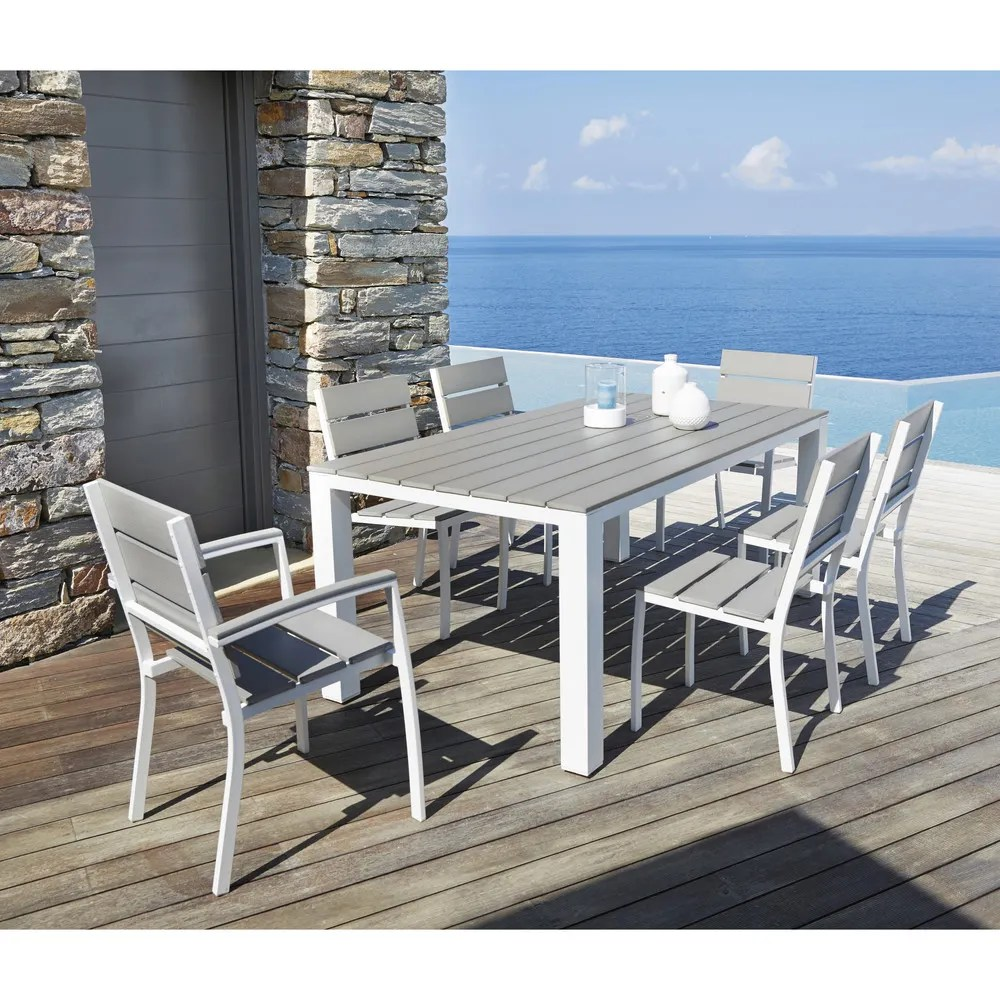 Salon De Jardin Table 160 + 6 Chaises Aluminium Gris