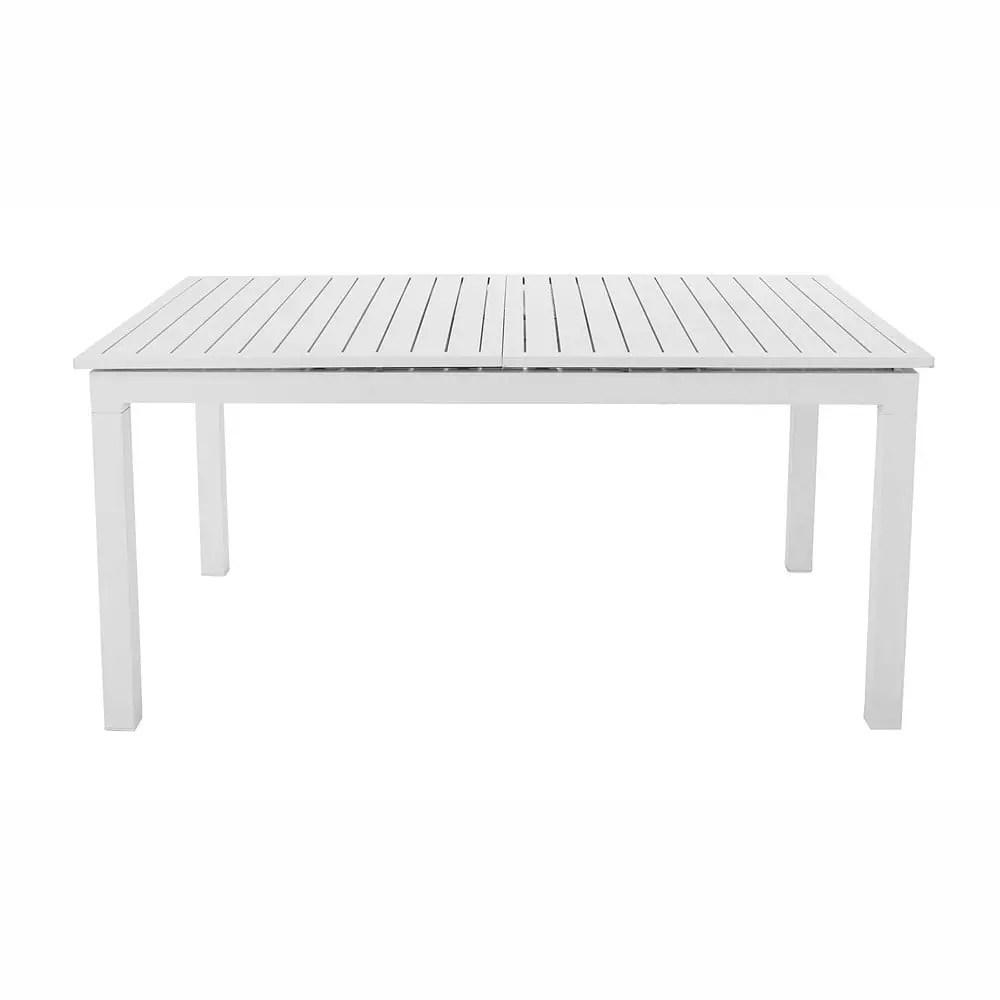 Table De Jardin Blanche Avec Rallonge | Urdu Rallonges Bois Jardin ...