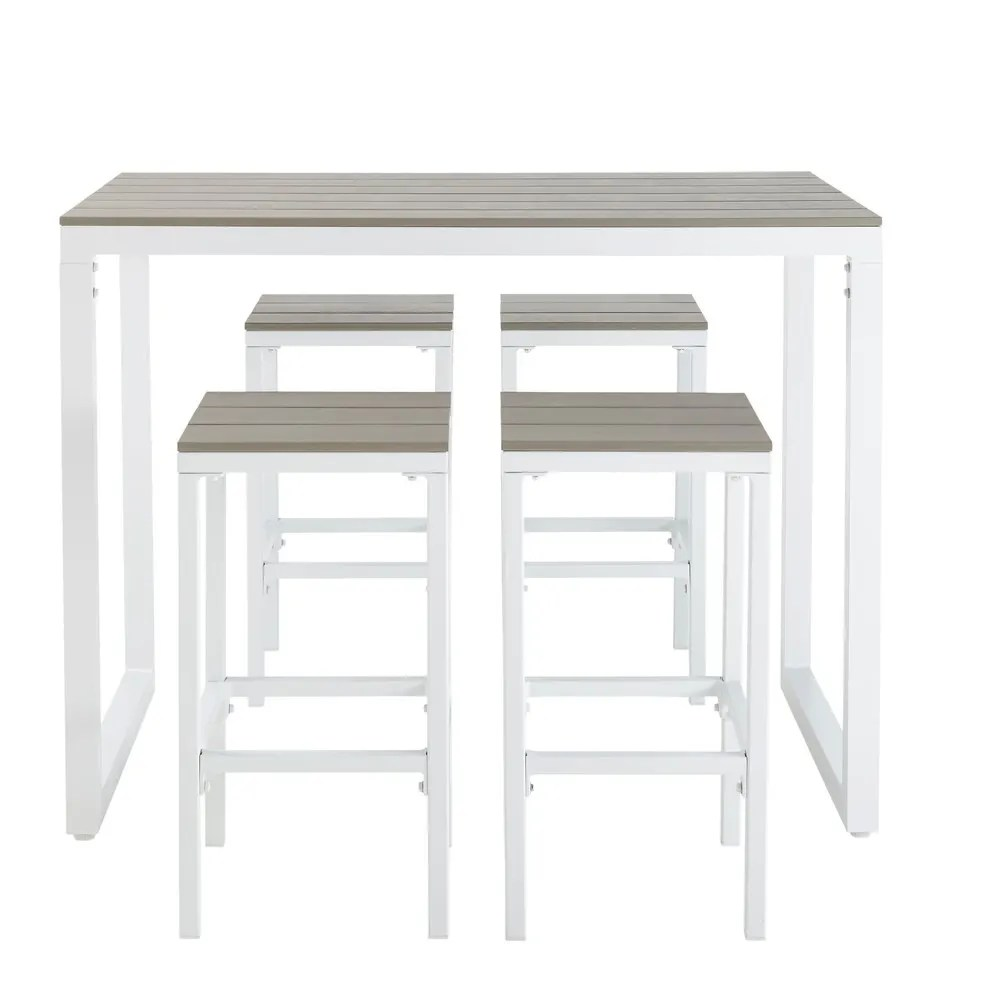 Set De 1 Table Bar Et 4 Tabourets Blanc