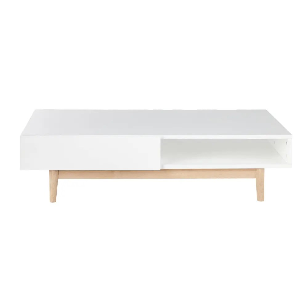 Couchtisch Nordic White 2 Drawer Scandinavian Style Coffee Table