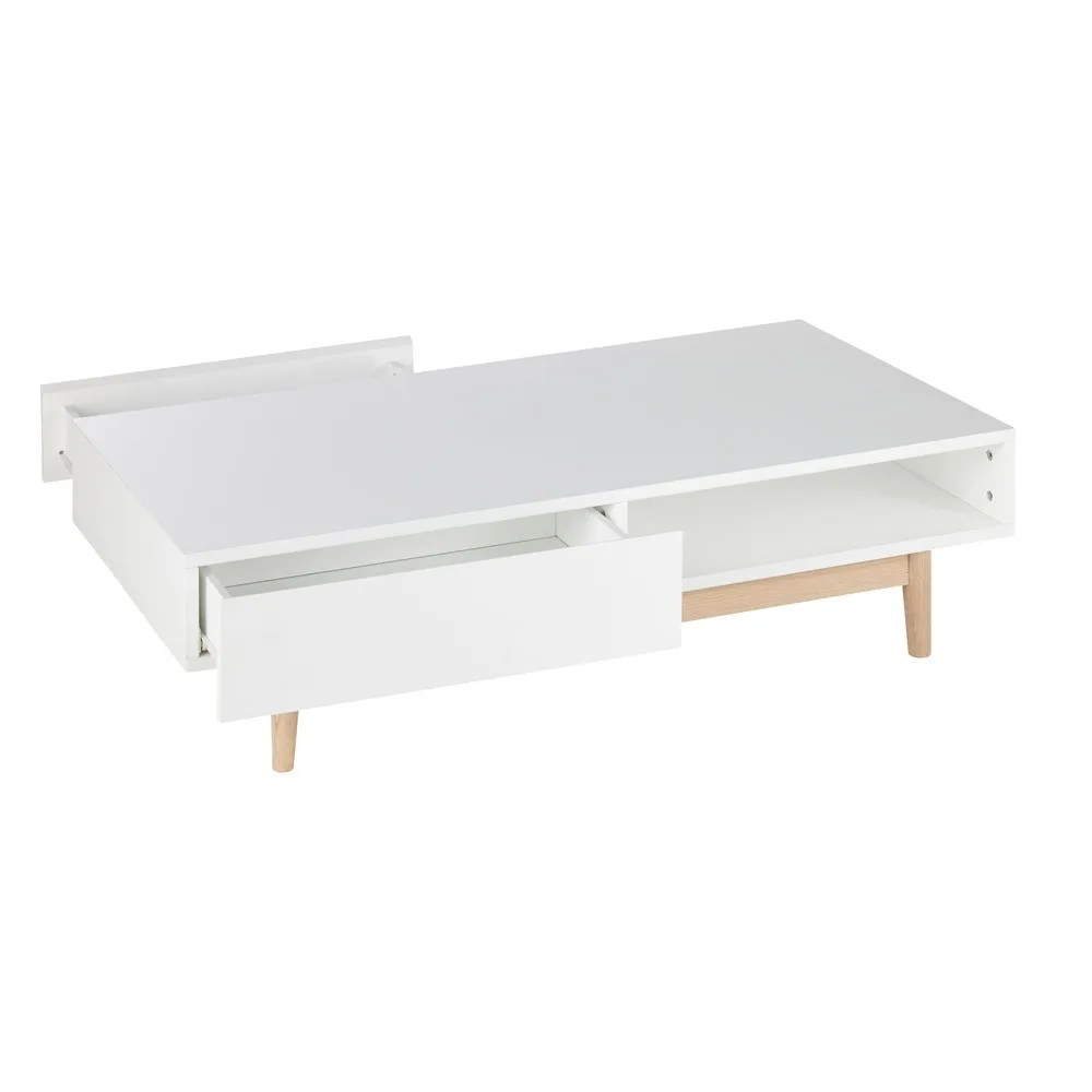 Home Trends 4 You Couchtisch White 2 Drawer Scandinavian Style Coffee Table