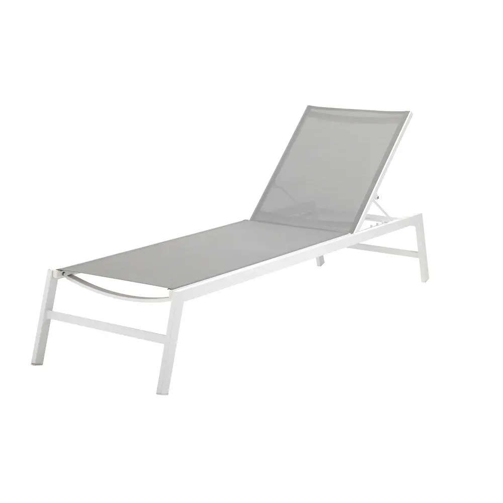 White Plastic Sun Loungers White Aluminium Sun Lounger With Grey Canvas
