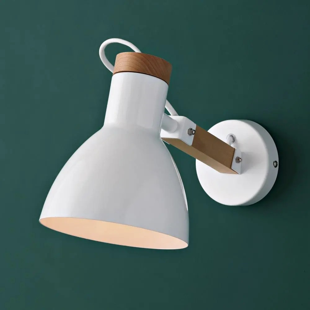 Maisons Du Monde Lamparas Metal Wall Light In White H 16 Cm
