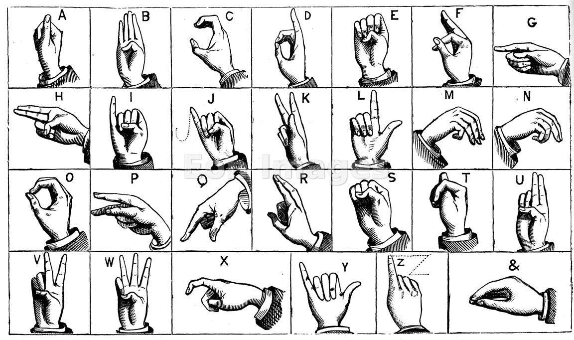 Eon Images Engraving of manual alphabet or sign language