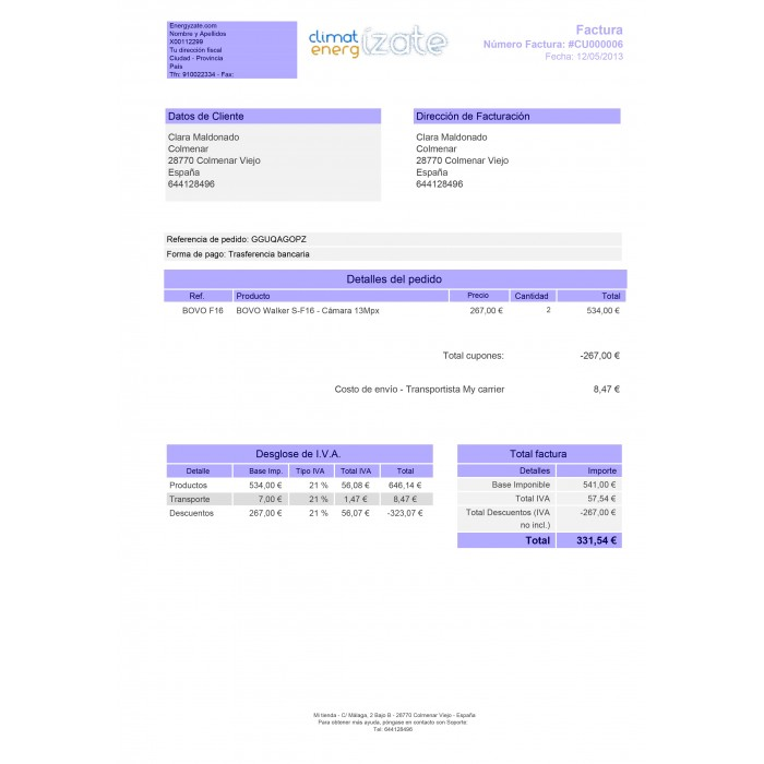 Customized Invoice - PrestaShop Addons