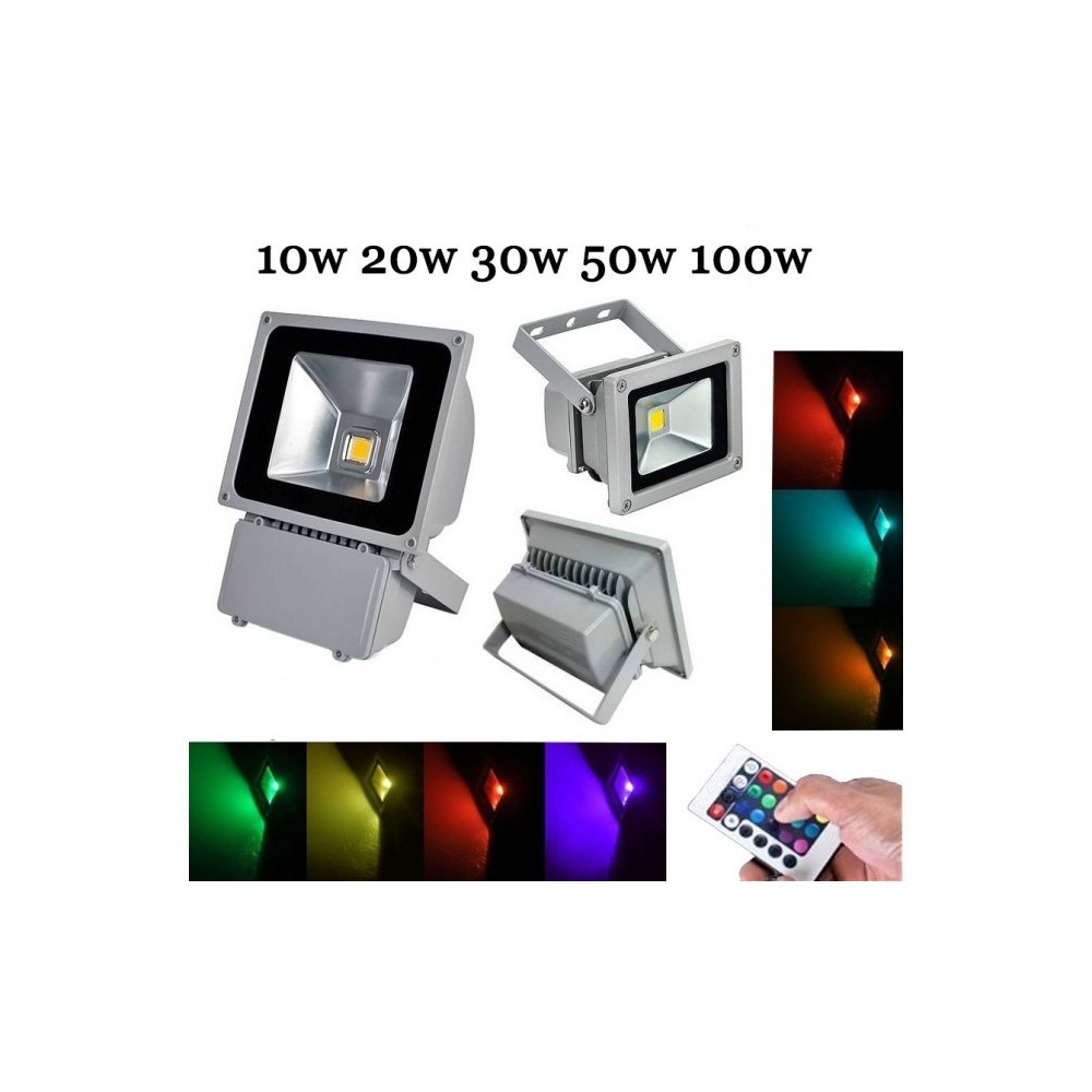 Spot Led Exterieur Multicolore Phare Projecteur Led Rgb Télécommande Multicolore 10 20 30 50 100w