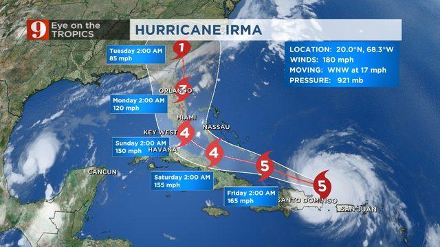 WATCH Category 5 Hurricane Irma\u0027s track shifts slightly west, winds