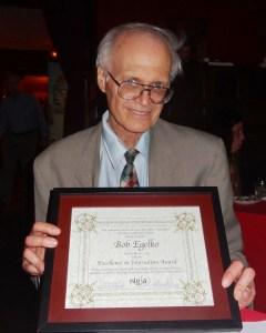 Bob Egelko with Excellence in Journalism Award from NLGJA. Photo courtesy Bob Egelko 2013.